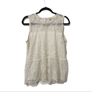 Paper tee white lace overlay tank XL NWOT